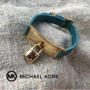 Michael Kors Lock Charm Leather Bracelet